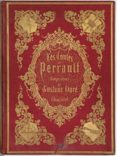 couverture de percaline rouge décorée et dorée