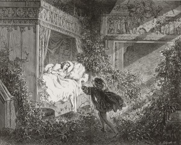 Voici la scène dessinée par Gustave Doré où le prince découvre la princesse encore endormie