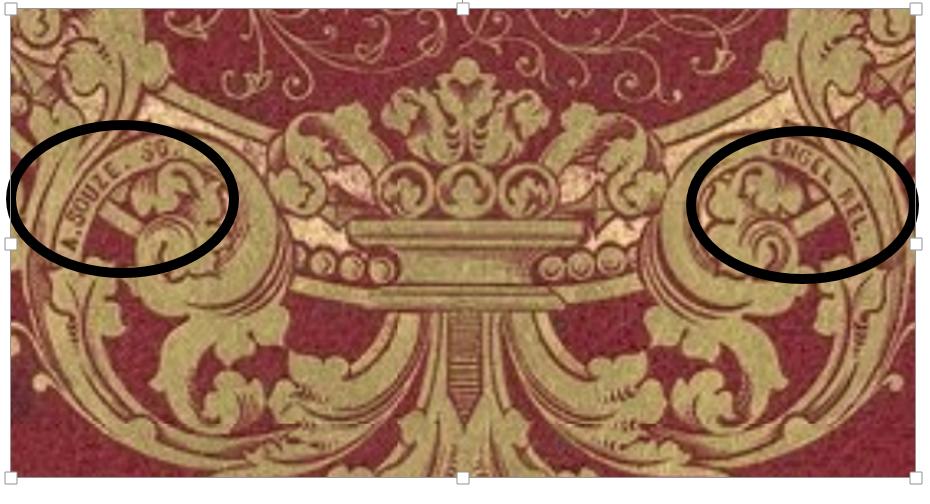 Signatures du relieur Jean Engel et de l'ornemaniste Auguste Souze sur le plat de couverture.